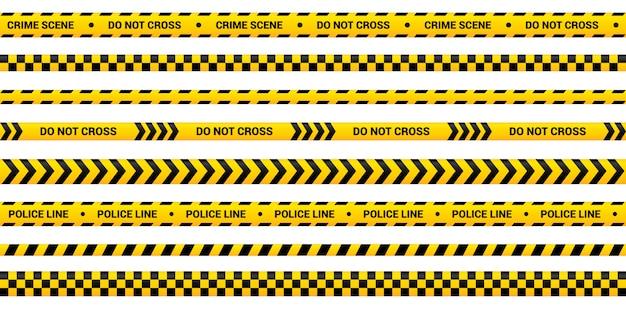 Set di nastri di polizia, striscia di avvertimento gialla in diversi design. modello di linea di polizia per area criminale, incidente, omicidio. bordo giallo con testo di avviso.