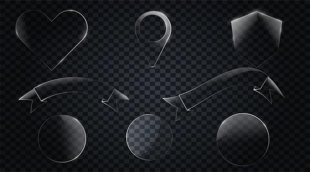 Set di nastri di vetro disegnati / banner