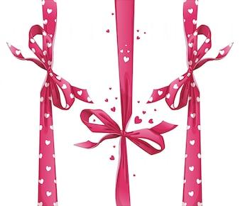 Set di nastri regalo rosso con fiocchi. Modello di cuore