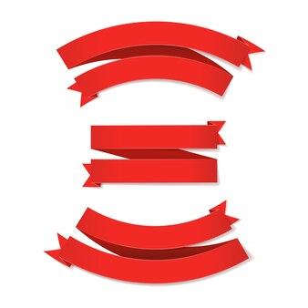Set di nastri rossi su sfondo bianco