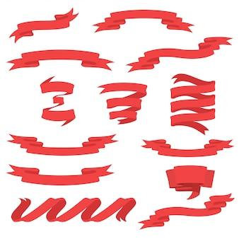 Set di nastri rossi.