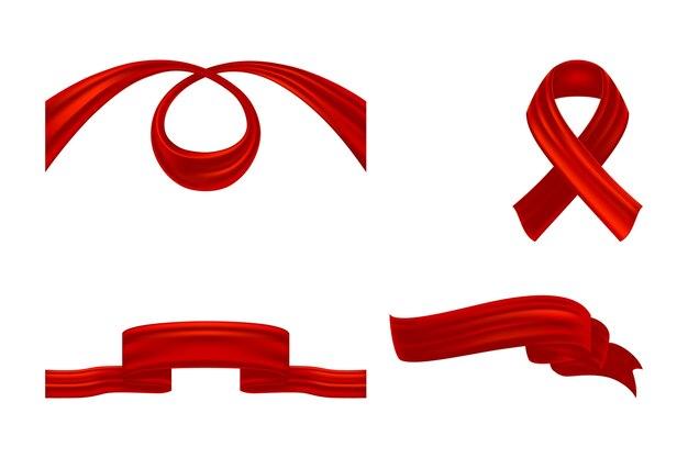 Set di nastri tessili arricciati rossi