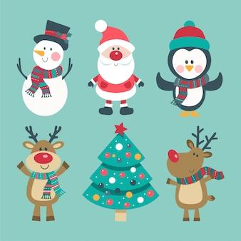 Set di natale con babbo natale, cervi, pupazzo di neve e pinguino.