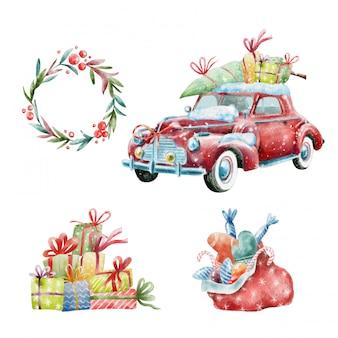 Set di natale di auto retrò e decorazioni