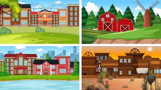 Set di natura che costruisce sfondo scene diverse