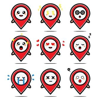 Set di navigazione gps carino con personaggio dei cartoni animati di espressione