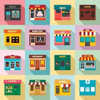 Set di negozi frontali locali, stile piatto