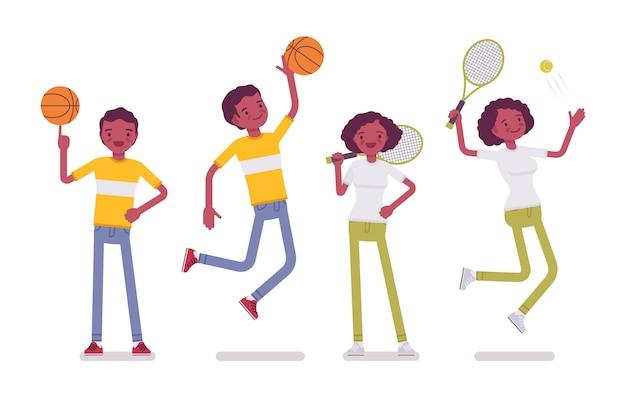 Set di nero o afroamericano giovane sportivo, donna