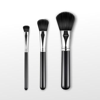 Set di nero pulito professionale polvere trucco rotondo grande medio piccolo pennello con manico nero isolato su priorità bassa bianca