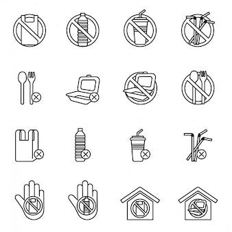 Set di nessun segno di plastica. salvare la terra e il buon concetto di ambiente.