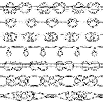 Set di nodi di corda. elementi decorativi senza soluzione di continuità