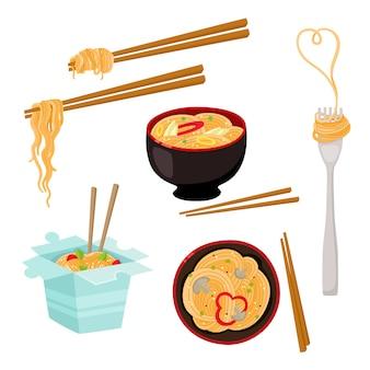 Set di noodle box, ciotola, forchetta e bacchette