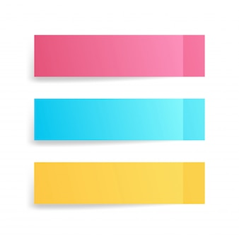 Set di note adesive colorate, adesivi post con ombre isolate