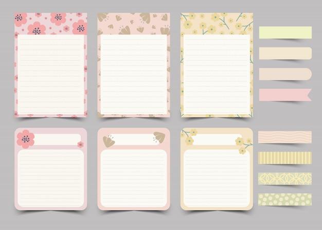 Set di note del diario personale e note adesive.