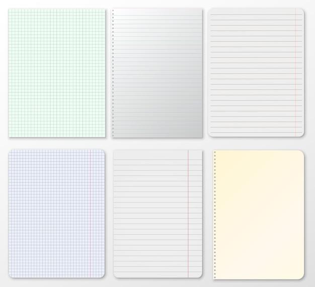 Set di note, quaderno a righe, carta a quadretti bloccato su sfondo grigio.