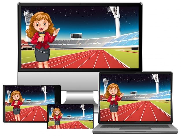 Set di notizie sportive su diversi schermi di gadget elettronici