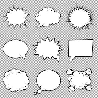 Set di nove diversi elementi comici. bolle di discorso, fotogrammi di emozioni e azioni.
