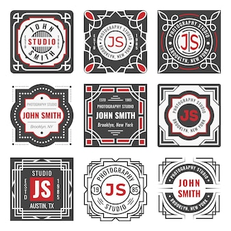 Set di nove eleganti insegne di linea. cornici e bordi geometrici decorativi. modelli di logo vintage moderno