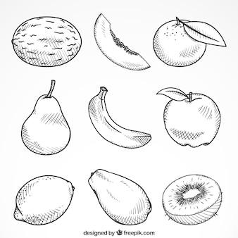 Set di nove pezzi disegnati a mano di frutta