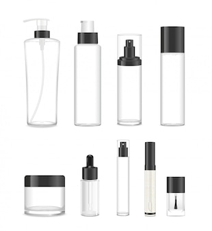 Set di nove tubi cosmetici trasparenti con tappi neri.
