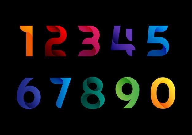 Set di numeri astratti fluido moderno