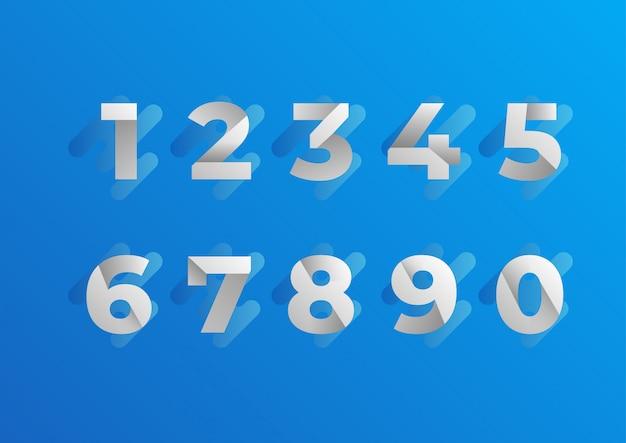 Set di numeri blu piegato