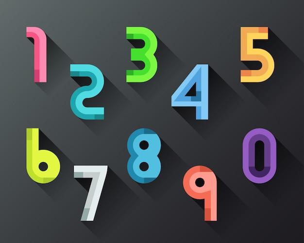 Set di numeri colorati stile piatto da 0 a 9