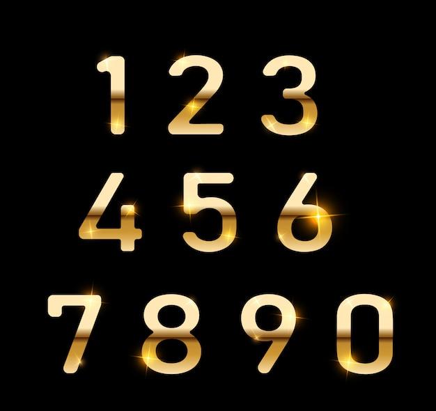 Set di numeri d'oro. numeri di gradiente di metallo digitali. numeri isolati