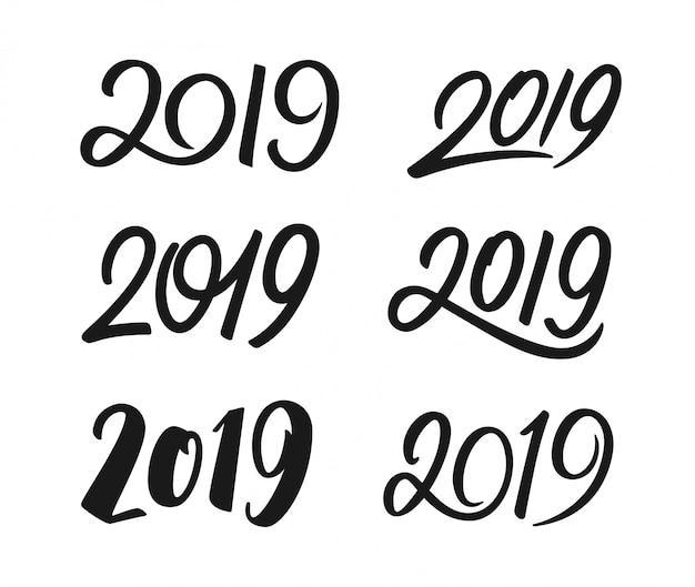 Set di numeri di calligrafia del nuovo anno 2019