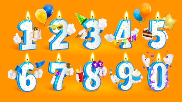 Set di numeri di candela di buon compleanno.