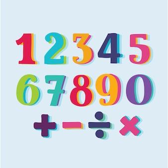 Set di numeri di carta a colori