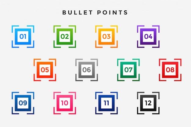 Set di numeri di punti elenco proiettile quadrati
