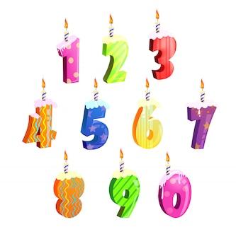 Set di numeri di torta di compleanno