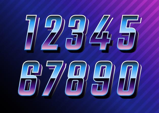 Set di numeri futuristici tecnologia retrò