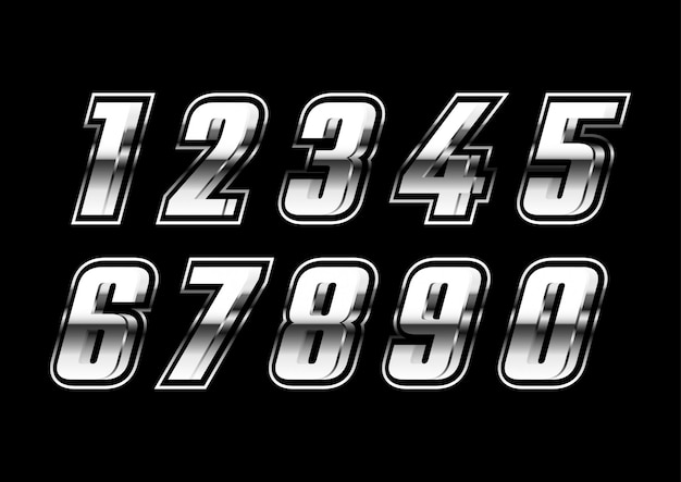 Set di numeri futuristico metallico argento 3d