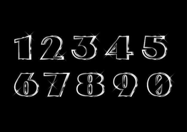 Set di numeri in argento elegante classico classico