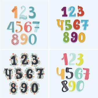 Set di numeri in diversi colori