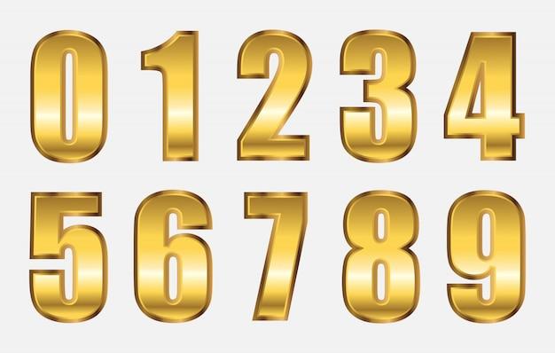 Set di numeri in metallo dorato