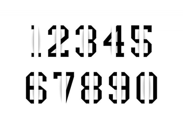 Set di numeri neri con effetto ombra su sfondo bianco. illustrazione vettoriale.