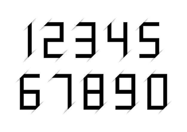 Set di numeri neri con effetto ombra