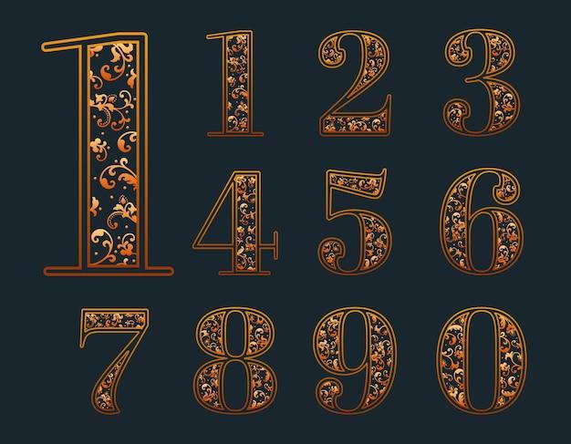 Set di numeri ornamentali