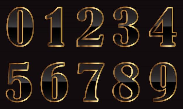 Set di numeri oro e nero