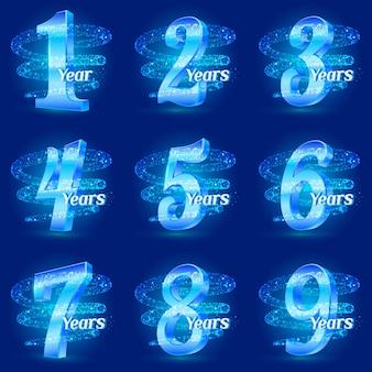 Set di numeri per l'anniversario. polvere di stelle a spirale scintillante scia particelle scintillanti.