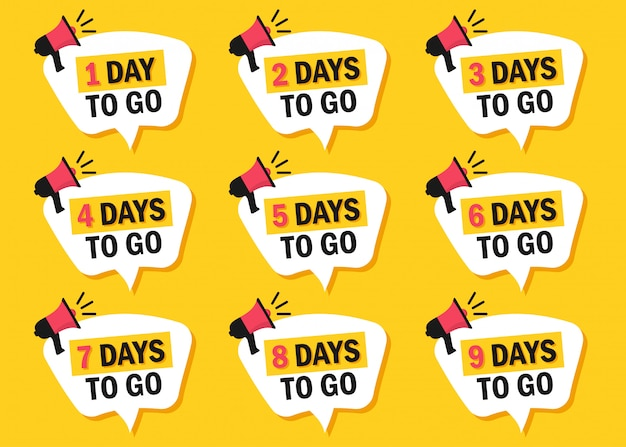 Set di numero di giorni rimanenti per andare icone con il megafono in un design piatto