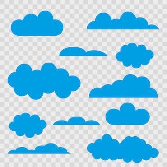 Set di nuvole blu su sfondo trasparente.