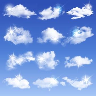 Set di nuvole diverse trasparenti. illustrazione