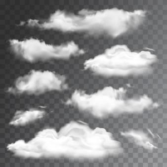 Set di nuvole realistiche trasparenti. illustrazione