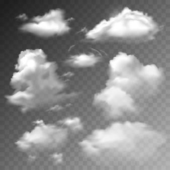 Set di nuvole trasparenti