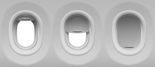 Set di oblò dell'aeroplano