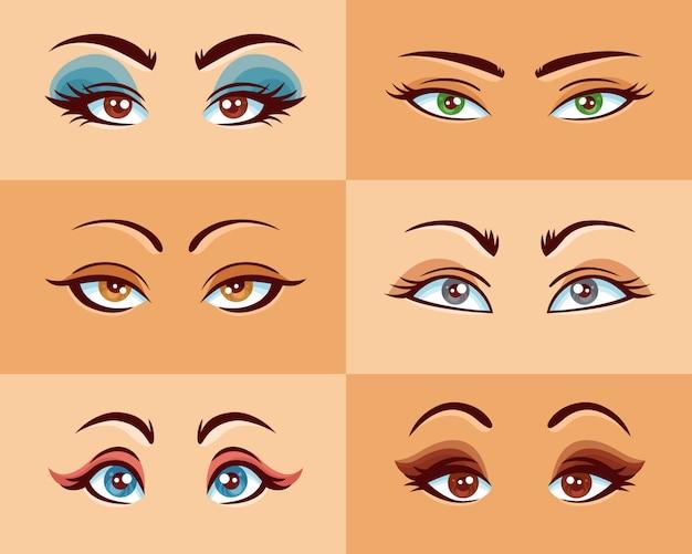 Set di occhi delle donne